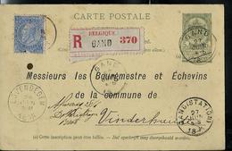 Carte N° 24. Avec Repiquage  En Recommandé De Gand 27/06/1895 - Entiers Postaux