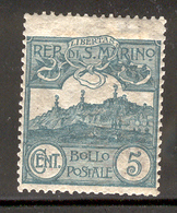SAN MARINO 1903 5c Mt. Titano Scott Cat. No(s). 42 MH - San Marino