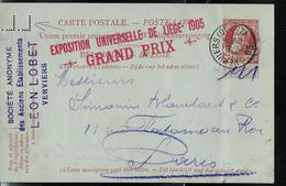 Carte N° 35.  De La Socièté Léon Lobet (perforation Du Mauvais: LL) Côté Obl. Verviers 29/09/1905 - Entiers Postaux