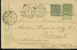 Carte N° 31. Obl. Bxl 04/07/1906 Pour Padang 07/08/1906  (Indes Néerlandaises) !!!  RR Destination - Entiers Postaux