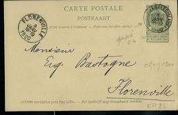 Carte N° 23. Obl. Bxl (Legislatif) 08/01/1900  Pour Florenville Le Même Jour  Perforé CL : Crédit Lyonnais - Entiers Postaux
