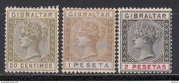1895  YVERT Nº 30 / 32 /*/ - Gibraltar