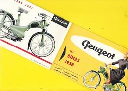 """Publicité """"PEUGEOT"""" Vélomoteurs Les BIMAS 1958 Format 12 X 19 Cm Env. Replié. - Motos"""