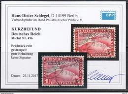 1933  Michel Nr 496  ,  Kurzbefund Hans Dieter Schlegel. BPP - Usados