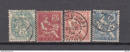 1902 - 1906    YVERT  Nº  23 , 24 , 25 , 27 , - Usados