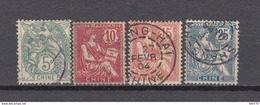 1902 - 1906    YVERT  Nº  23 , 24 , 25 , 27 , - Usati