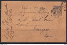 Tarjeta Postal , Marsella  A Tarragona - 1876-1898 Sage (Type II)