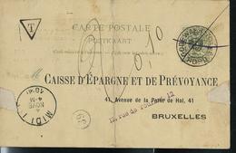 Carte N° 19. Obl. Godewaert + Annulé à La Plume Pour Taxation (t Dans Un Triangle à Dest. De Bruxelles Obl: MIDI I 04/11 - Entiers Postaux