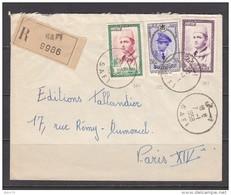 CARTA  REGISTRADA   CIRCULADA   SAFI     -  PARIS   ,    YVERT  Nº  364 , 365 , 382 - Cartas