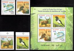 TUNISIA, 2018, MNH, FAUNA, BIRDS, FISH, FOXES, DEER, 4v+SHEETLET - Uccelli