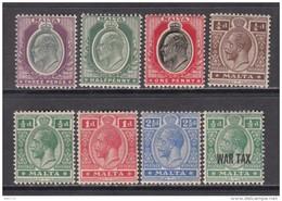 1903  - 1918    YVERT  Nº  22 , 26 , 27 , 42 , 43 , 44 , 46 , 55 ,    / * / - Malta