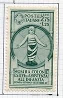 Italie - Italy - Italien 1937 Y&T N°394 - Michel N°568 * - 75c Colonies De Vacances - 1900-44 Victor Emmanuel III