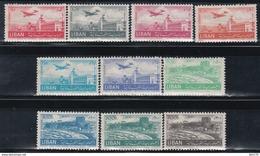 1952   AÉREO, YVERT Nº  72 / 81     /*/, - Líbano