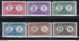 1952  TAXE , YVERT Nº  10 / 15    /*/, - Líbano