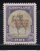 1945   YVERT Nº 18 K  /*/, Sobrecarga Roja. - Groenlandia