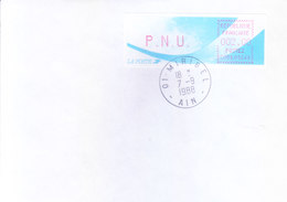 FRANCE : OFFICIAL METER FRANKED POSTAL LABLE WITH CANCELLATION : YEAR 1988 : ISSUED FROM MIRIBEL, AIN - France