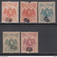 1921  YVERT Nº 114, 116, 117, 118, 119, MH - Albania