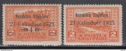 1925  YVERT Nº 159, 160 MH - Albania