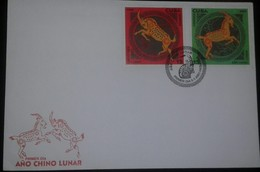 O) 2002 CUBA-CARIBBEAN, SPANISH ANTILLES, YEAR OF THE RAM WITH BACKGROUND - GOAT, FDC XF - FDC