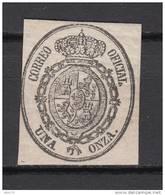 VARIEDAD DE COLOR , 1 ONZA NEGRO SOBRE BLANCO , CATALOGO GALVEZ  N- 6h - 1850-68 Reino: Isabel II