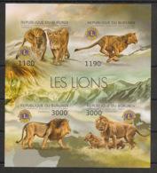 Burundi - 2012 - N°1702 à 1705 - Lions Club - Non Dentelé / Imperf. - Neuf Luxe ** / MNH / Postfrisch - Cote 19€ - Félins