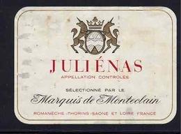 Rare Etiquette De Vin // Beaujolais // Juliénas // Marquis De Monteclain - Beaujolais