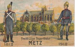 57 - METZ - CENTENAIRE DES SAPEURS POMPIERS - BELLE LITHO RARE - Metz
