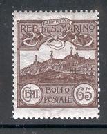 SAN MARINO 1903 65c Mt. Titano Scott Cat. No(s). 66 MH - Unused Stamps