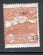 SAN MARINO 1905 15c On 20c Surcharge Mt. Titano Scott Cat. No(s). 77 MH - Unused Stamps