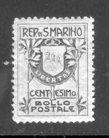 SAN MARINO 1910 Coat Of Arms Type II Scott Cat. No(s). 78 MH - Unused Stamps