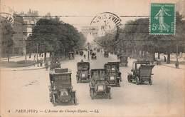 75 Paris Avenue Des Champs Elysées Cpa Carte Animée Vieille Voiture Auto Automobile - Champs-Elysées