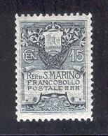 SAN MARINO 1907 Coat Of Arms Type I Scott Cat. No(s). 79 MH - Unused Stamps