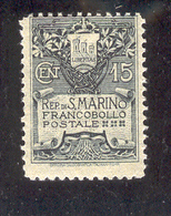 SAN MARINO 1907 Coat Of Arms Type I Scott Cat. No(s). 79 MH - San Marino