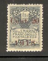 SAN MARINO 1918 Coat Of Arms 20c On 15c Surcharge Scott Cat. No(s). 80 MH - San Marino