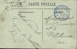 Guerre 14 Franchise Militaire Cachet Bleu Hôpital Militaire St Charles Cette Sète CPA Cette Hérault Le Pont Neuf - Marcophilie (Lettres)