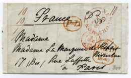 Lettre De NEWPORT-MON  Via LONDON Pour PARIS + Cad Entrée En France Angleterre Par Calais / 1840 - Marcophilie (Lettres)