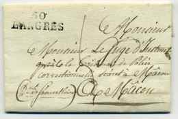 MP 50 LANGRES / Lettre D'un Detenu De La Maison D'Arrêt De Langres / Dept De Haute Marne / 1822 - Marcophilie (Lettres)