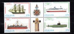 ITALIA REPUBBLICA 1979 COSTRUZIONI NAVALI 170L Sass 1476-1479 BLOCCO MNH** . - 6. 1946-.. Republic