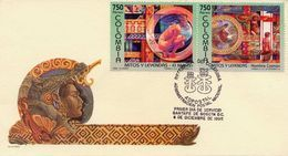 Lote 2010-1F, Colombia, 1995, SPD - FDC, Mitos Y Leyendas, Myths And Legends, Reptile, Woman, Music, Verde - Colombia