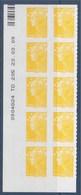 = Marianne Beaujard Autocollant Boutique Pro Coin Daté 23.03.09 Du  0.01 € X 10 Neuf N°208 Autoadhésif - Dated Corners