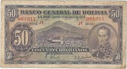 Bolivia 50 Bolivianos 20-7-1928 Pk 132 3 Firmas Ascarrunz, Prudencio Y Antezana Paz Ref 3167-2 - Bolivie