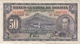 Bolivia 50 Bolivianos 20-7-1928 Pk 132.5 Firmas Baptista, Prudencio Y Ascarrunz Ref 11 - Bolivia