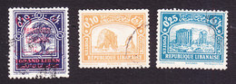 Lebanon, Scott #107, 114, 116, Used, Scenes Of Lebanon, Issued 1928-30 - Great Lebanon (1924-1945)