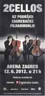 Croatia Zagreb 2012 / 2 CELLOS / Brochure, Prospectus - Music & Instruments