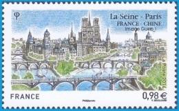 France Architecture N° 4848 ** Émission Commune France Chine - La Seine, Et Ses Ponts, Cathédrale Notre-Dame à Paris - Ponts