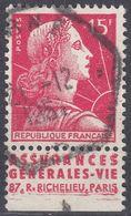 FRANCE - 1955 - Yvert 1011a Usato, Con Banda Pubblicitaria. - 1955- Marianna Di Muller