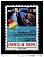 Bolivia 1990 CEFIBOL 1377. YT753 ** Año Mundial Desarrollo Telecomunicaciones. Mapa, Globo Terráqueo, Satélite. - Bolivia