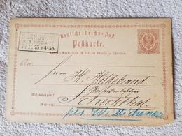 Deutsches Reich Ganzsache Postkarte Bernsdorf Liegnitz Nach Scheckthal Wittichenau 7.1.1875 - Deutschland