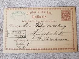 Deutsches Reich Ganzsache Postkarte Brieg Breslau Nach Henriettenhütte Primkenau 22.7.1874 - Lettres & Documents