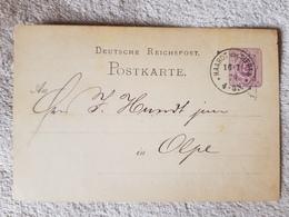 Deutsches Reich Ganzsache Postkarte Haardt Bei Siegen Nach Olpe 16.7.1878 - Alemania